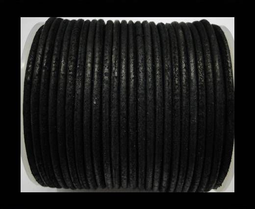 Round Leather Cord Vintage Black -4mm