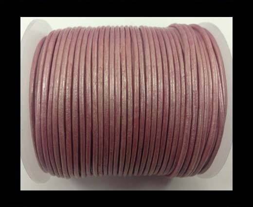 Round leather cord-2mm-metallic pink