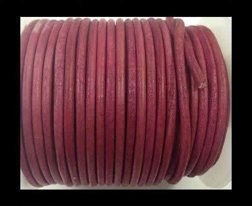 Round leather cord-3mm-vintage dark pink