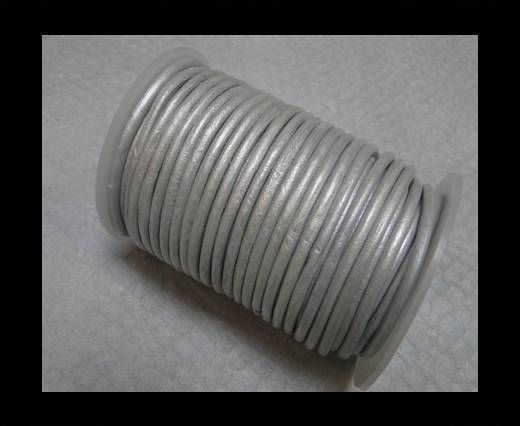 Round Leather Cord 4mm- Silver