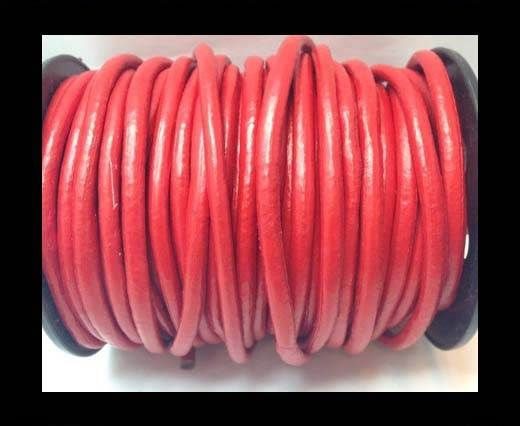 Round Leather Cord 4mm-Red