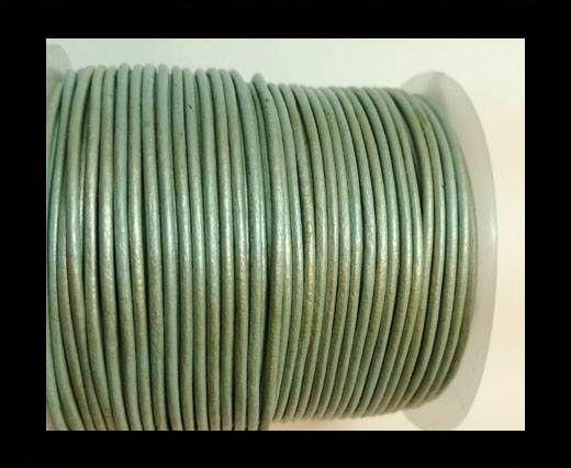 Round Leather Cord -1mm- METALLIC APPLE GREEN