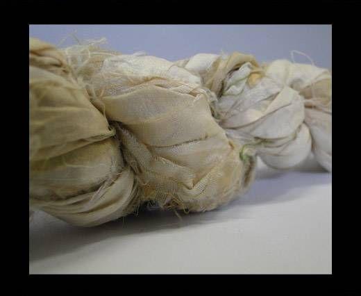 Sari silk ribbons- Beige White