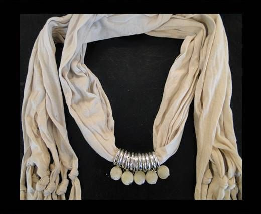 Scarf With Beads Style5-Cream