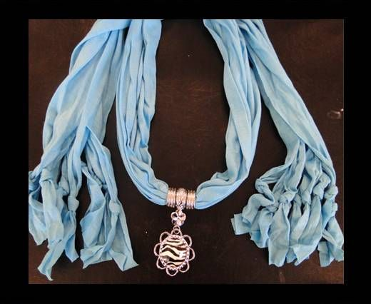 Scarf With Beads Style10-Turquoise