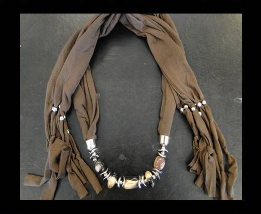 Scarf With Beads Style12-Brown