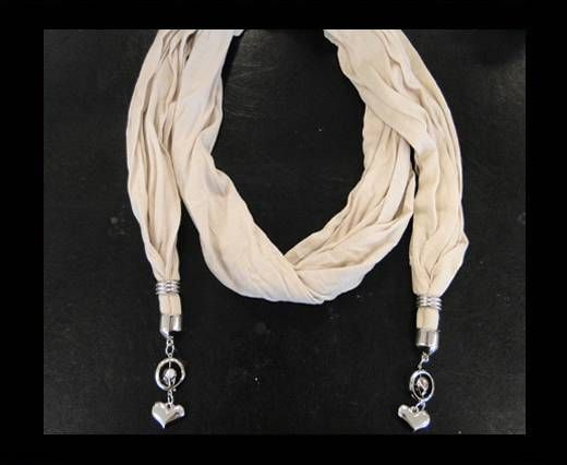 Scarf With Beads Style15-Cream