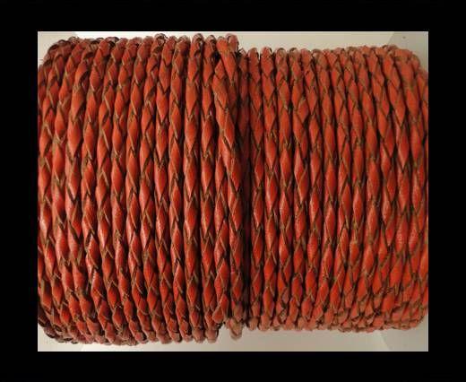 Round Braided Leather Cord SE/B/2016-Brick - 5mm