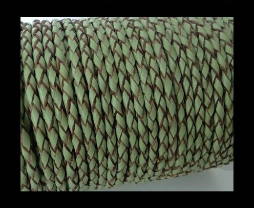 Round Braided Leather Cord SE/B/718-Asparagus-natural edges - 4m
