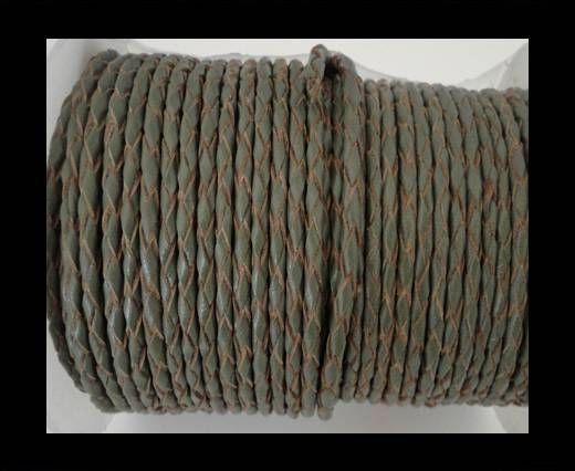 Round Braided Leather Cord SE/B/Khakhi-natural edges-8mm