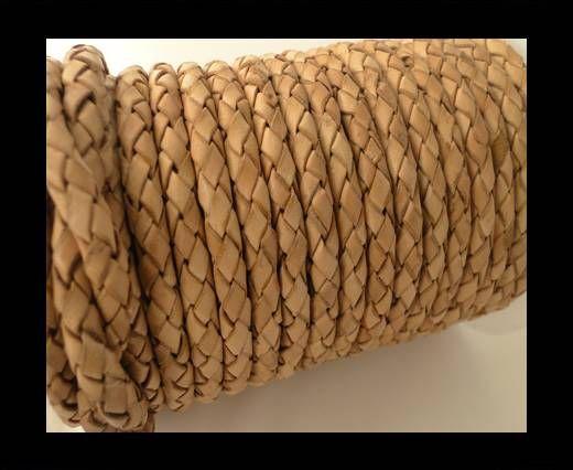 Round Braided Leather Cord SE/DB/21-Vintage Beige - 5mm