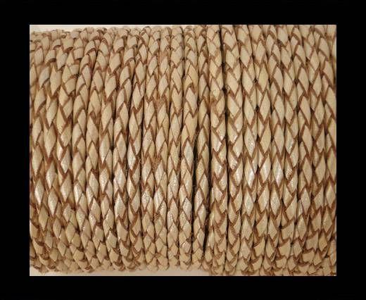 Round Braided Leather Cord SE/M/13-Metallic Sun-4mm