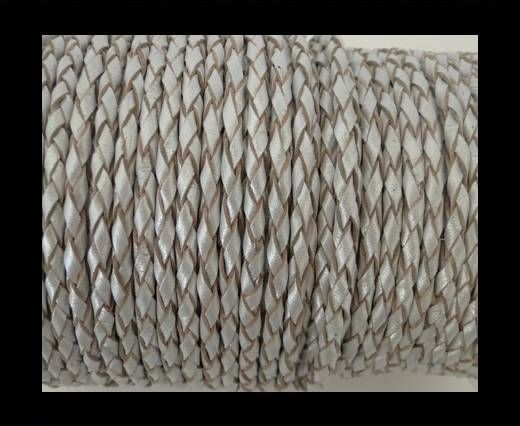 Round Braided Leather Cord SE/M/Silver - 6mm
