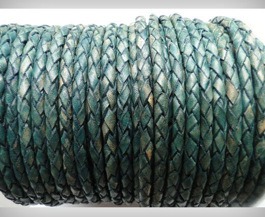 Round Braided Leather Cord SE/PB/15-Vintage Aqua Green - 8mm