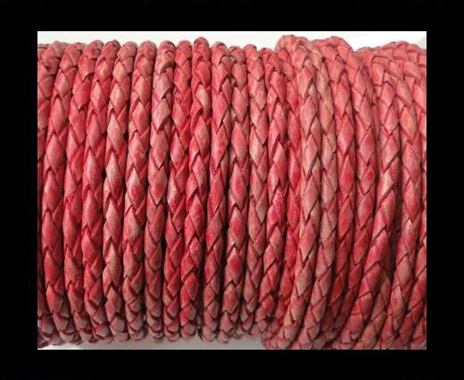 Round Braided Leather Cord SE/PB/Vintage Red-4mm