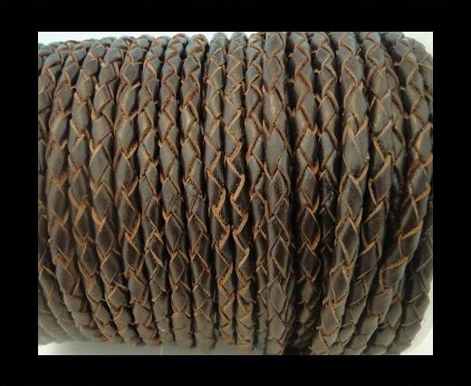 Round Braided Leather Cord SE/R/03-Brown-natural egdes-3mm