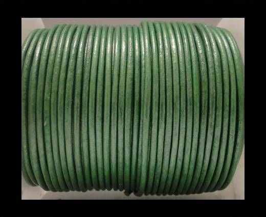 Round Leather Cord SE/R/Metallic Apple Green - 2mm