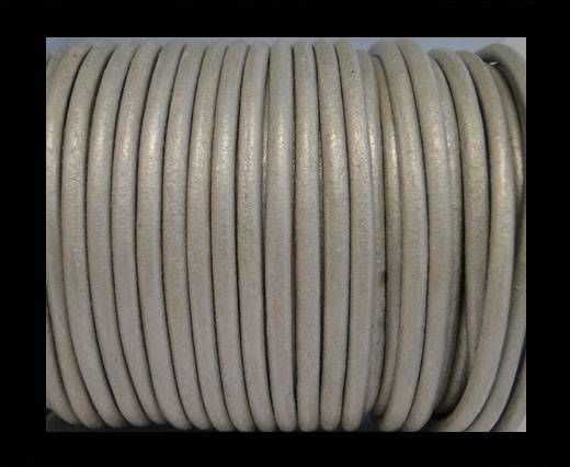 Round Leather Cord SE/R/Silver - 3mm