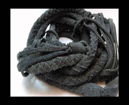 Suede Braided Belts with tassels - 8mm round -Vintage Blue