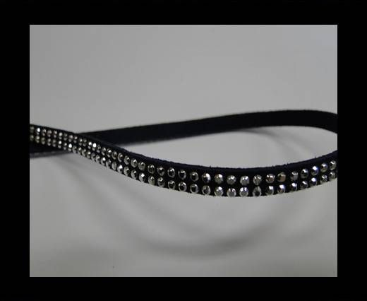 Suede Cord with studs-5mm-Silver-Navy Blue