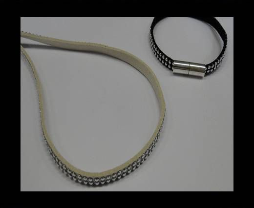Suede Cord With Silver Studs-5mm-Beige