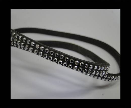Suede Cord with Silver Shiny Studs-5mm- Dark Grey