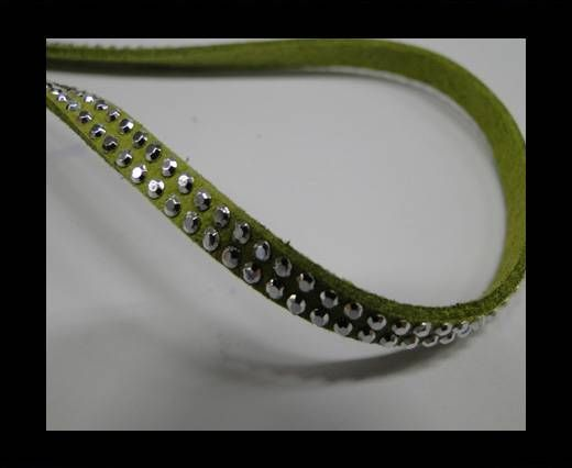Suede Cord with Silver Shiny Studs-5mm-Green
