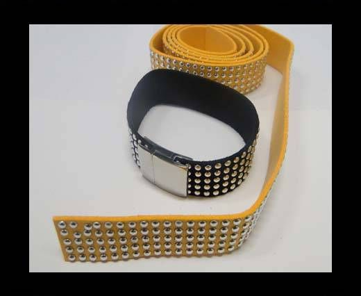 Suede Cord with Studs-20mm-5layers-Orange