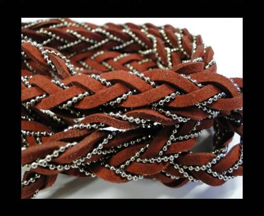 Suede cords with chains-10mm-Red