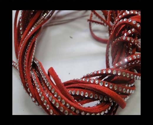 Suede Cords with Crystals 3mm-Red
