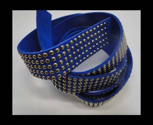 Suede Cords with Studs 20mm-5 layers-Gold-Blue