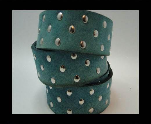 Vintage Style Flat Leather Studs-Silver-30mm-Blue stripes