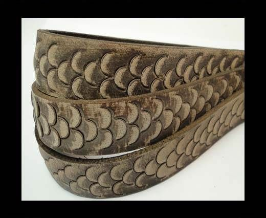 Vintage Style Flat Leather-Fish Style-20mm-Dark Brown