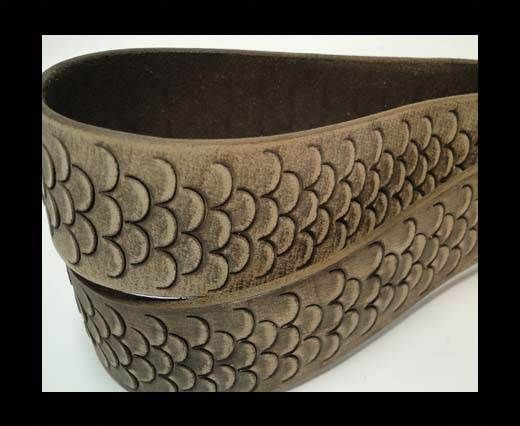 Vintage Style Flat Leather-Fish Style-30mm-Dark Brown
