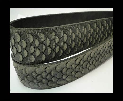 Vintage Style Flat Leather-Fish Style-30mm-Dark Grey