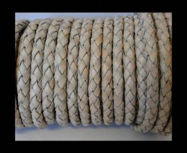 Round Braided Leather Cord SE/PB/Vintage Light Grey - 3mm