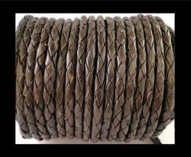 Round Braided Leather Cord SE/B/03-Dark Brown - 3mm
