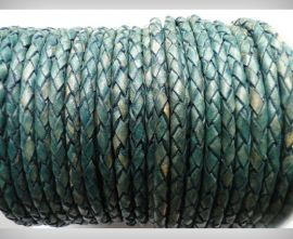 Round Braided Leather Cord SE/PB/15-Vintage Aqua Green - 3mm