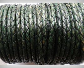 Round Braided Leather Cord SE/PB/19-Vintage Bottle Green - 3mm