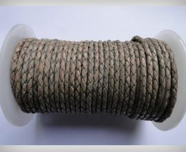 Round Braided Leather Cord SE/PB/Vintage Grey - 3mm
