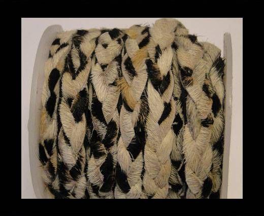Cordón de Piel de Potro Trenzado Plano - Blanco Cebra