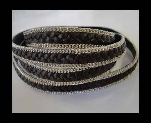 Braided Leather with silver chain-10mm-SE-R-03-Brown matt look