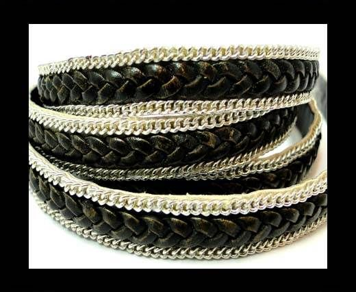 Braided Leather with silver chain-10mm-SE.FPB.26