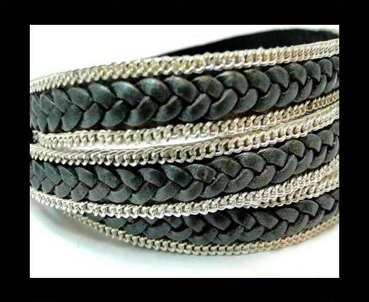 Braided Leather with silver chain-10mm-SE.FPB 34