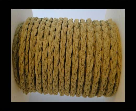 Cordón de Ante Trenzado-Amarillo Oscuro-5mm
