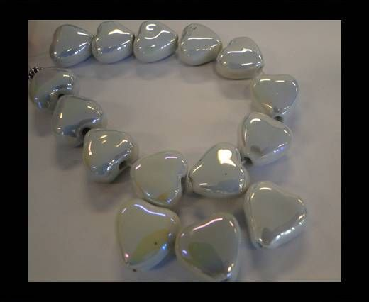 CB-Ceramic Heart - White AB