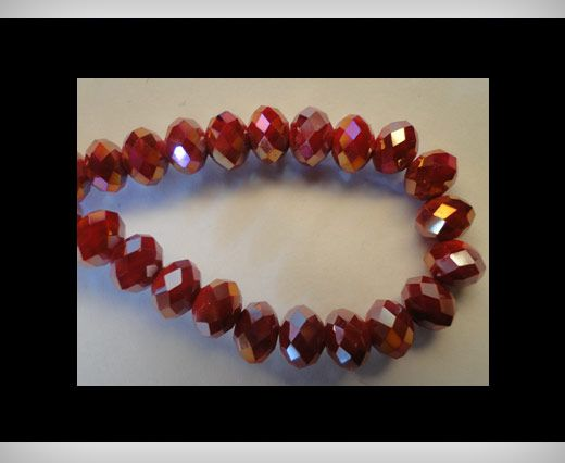 Faceted Glass Beads-8mm-Wine-Red-AB