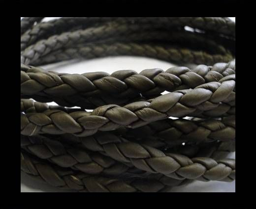 Fine Braided Nappa Leather Cords-Chocolate brown-6mm