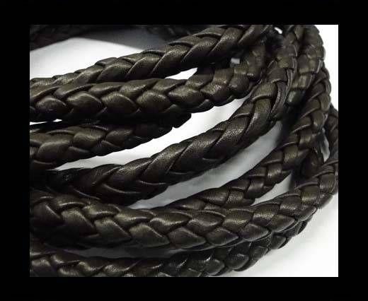 Fine Braided Nappa Leather Cords  - dark brown-6mm