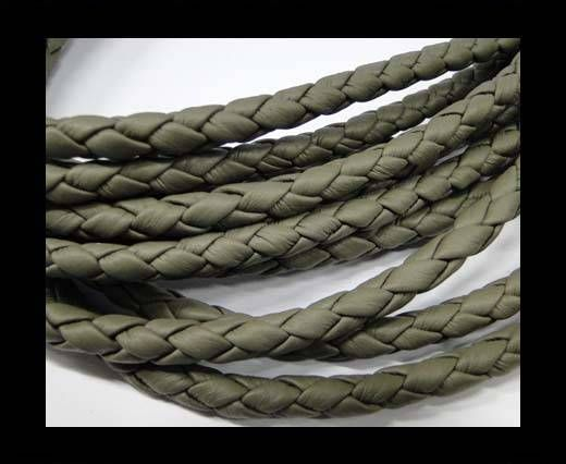 Fine Braided Nappa Leather Cords  - dark grey-8mm